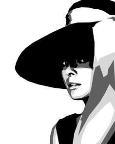 Audrey Hepburn hat looking aaronu painting