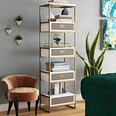 Surprise Deal Ariadne Etagere Bookcase By Willa Arlo Interiors Bookcase With Drawers, Wooden Drawers, Etagere Bookcase, Bookcase Shelves, Ladder Bookcase, Shelving, Modern Bookcase, Bookcases, Accent Furniture