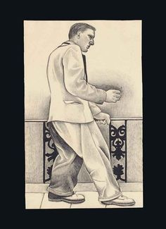 Artwork by Lucian Freud, A Walk to the Office, Made of conté crayon on paper