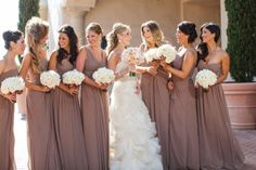 taupe bridesmaids...loving the different styles but same shade/length
