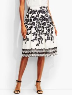 Cascading Roses Embroidered Skirt