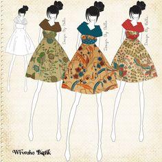 Batik Fashion Design. Dress used Batik Lasem Indonesia. I really love motif and colour in batik lasem.