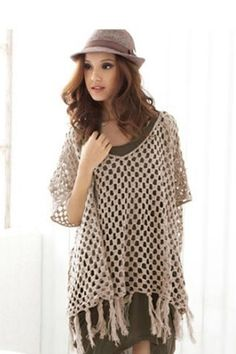 Fashion Hollow Crochet V Neck Half Sleeves Apricot Knitting Pullovers