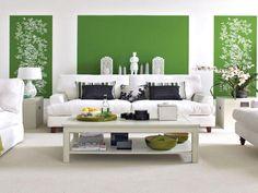Wohnzimmer Weiß Grün