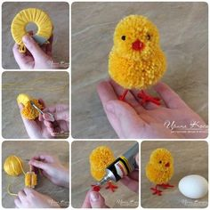 How to make adorable Pom Pom Easter chicks - Easter Day DIY your Christmas gifts this year with GLAMULET. they are compatible with Pandora bracelets. How to Make Adorable Pom-Pom Easter Chicks Learn how to make pom pom Easter bunnies. Pom Pom Crafts, Yarn Crafts, Diy And Crafts, Arts And Crafts, Handmade Crafts, Pom Pom Diy, Crochet Crafts, Crochet Ideas, Wood Crafts