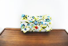 Blue and Olive Floral Cloth Trifold Clutch by Singsthesparrow, $44.00