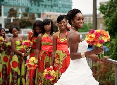 African Bridal party with Traditional Wedding gown African Traditional Wedding, Traditional Wedding Dresses, Modern Traditional, Wedding Attire, Wedding Gowns, Wedding Hijab, Bouquet Wedding, Wedding Cakes, Marie Laporte