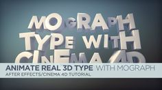 Add Real 3D Type To After Effects Using Cineware And Mograph on Vimeo