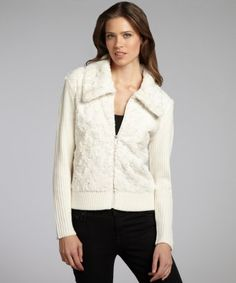 #Ellen Tracy : ivory faux fur and kit sleeve zip front cardigan : style # 319622001  cardigans #2dayslook #cardigans style #cardigansfashion  www.2dayslook.com