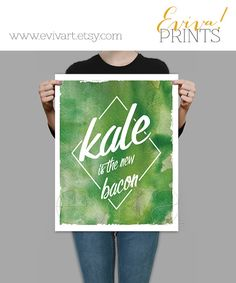Kale is the new Bacon   Watercolor-inspired Art Print by evivart