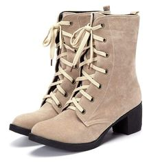 Normal Tie Up Nude Mid-calf Boots