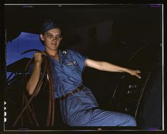 With a woman's determination, Lorena Craig takes over a man-size job, Corpus Christi, Texas. Before she came to work at the Naval air base she was a department store girl. Now she is a cowler under civil service (LOC)