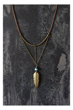 Boho necklace feathe