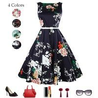 Package Content           1 x Women's swing dress  Color:Black  Fabric: Cotton  Style: Retro  Pattern:Flo