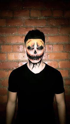 Insta: Annaparkiinson Hans painted by me of a pumpkin themed thing Halloween Skull Makeup, Haloween Makeup, Halloween Men, Halloween Makeup Looks, Halloween Pumpkins, Halloween Ideas, Pumpkin Faces, A Pumpkin, Male Makeup
