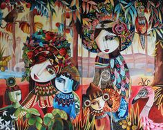 """Galerie Vers un nouveau monde """"Vers un nouveau monde"""" Diptyque - 130 x 160 cm - Technique mixte Laure Ketfa"""