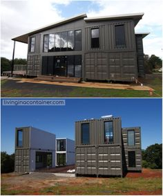 Wonderful Veranda Shipping Container House - USA - Living in a Container Building A Container Home, Container Cabin, Storage Container Homes, Container Buildings, Container Architecture, Container House Design, Tiny House Design, Architecture Design, Sustainable Architecture
