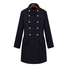 Stand Collar Solid Color Long Edition Double-Breasted Long Sleeves Women's Coat, BLACK, L in Jackets & Coats   DressLily.com