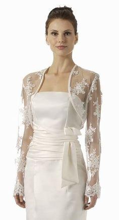 Ivory Bolero Jacket Lace Embroider Long Sleeve Wedding Bolero Jacket $49.99