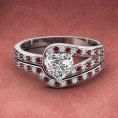 Diamond Loop Set || Asscher Cut Diamond Wedding Sets With Red Ruby In 14K White Gold