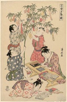 Torii Kiyonaga, The #tanabata festival, from the   series Precious Children's Games of the Five Festivals (Kodakara gosetsu asobi) (1794-95)