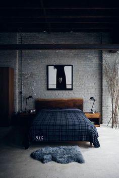 Bedroom Decor Ideas For Men: Wood Bed Frame, Grey And Navy, Industrial  Bedside