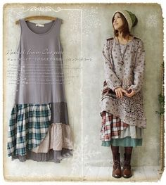 Petticoat tunika lagenlook vintage retro kawaii Japan gyaru nadir shabby chic