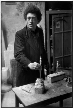Photos of Henri Cartier-Bresson: Swiss sculptor, Alberto GIACOMETTI, in his studio. 1945-1946