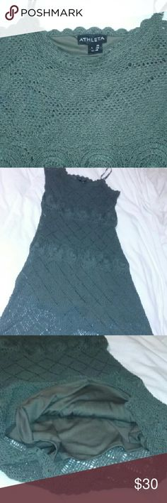 "Athleta Dress Crochet Dark Green Misses Size Large Excellent, clean condition. Fully lined, crocheted shell. Such a fine find. Approx measurements laid flat:chest 15.5"", length 33"". Athleta Dresses"