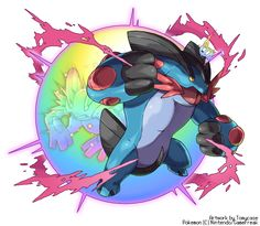 EDIT : Added the mega evolution symbol ~ Here my art for Mega Swampert in the same style of Blaziken promotional art ~ Enjoy! o/ Mega Swampert -Mega Evolve Art Pokemon Fan Art, My Pokemon, Mega Swampert, Cool Pokemon Wallpapers, Pokemon Starters, Mudkip, Mega Evolution, Art Pictures, Geek Stuff