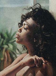 Marcos Beccari, watercolor {figurative art beautiful female head black woman face profile cropped portrait painting #loveart}