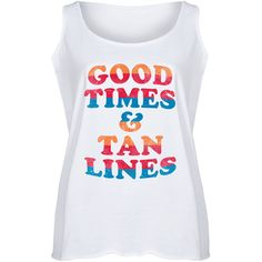 Board Life Plus White 'Good Times & Tan Lines' Flowy Tank ($23) ❤ liked on Polyvore featuring plus size women's fashion, plus size clothing, plus size tops, plus size, plus size tanks, white cotton tank tops, white singlet and white tank