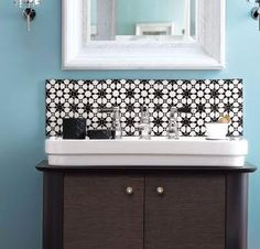 Bathroom Sink, Blue Wall And Neat Bathroom Design With White And Brown Backsplash For Bathroom Sink In The Elegant Bathroom With Simple Sink And Vanity With Mirror And Two Lampshade ~ Make Your Vanity Looks More Elegant With Unique Backsplash For Bathroom Sink