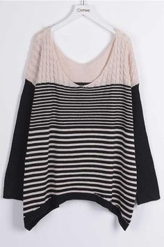 #CupShe - #CUPSHE Cupshe Striping Young Woman Twist Sweater - AdoreWe.com