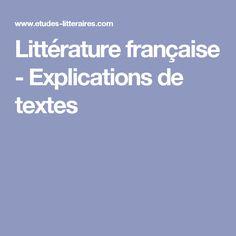 Littérature française - Explications de textes