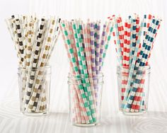 Create instant pizazz at your wedding, party or event with our striped or polka dot paper party straws. In 11 fabulous colors they will match any theme or event.  Use them at the bar or display them on the buffet table for a pop of color and for guests to grab as they please. Party straws coordinate perfectly with Kate Aspen�s straw flags.Sold as a set of 25 straws and made from food-grade biodegradable paper, making the straws eco-friendly. All colors are paired with a white-cream ...