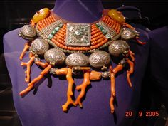 Coral, Amber, Silver and Turquoise Necklace | Iris Barrel Apfel Collection.  {Photo taken by cumulo-nimbus (on Flickr) at The Met, Manhattan during the Rara Avis  Selections from the Iris Barrel Apfel Collection | http://www.metmuseum.org/exhibitions/listings/2005/iris-barrel-apfel}