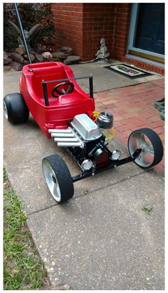 Custom Radio Flyer Wagon, Radio Flyer Wagons, Rat Rods, Cozy Coupe Truck, Custom Power Wheels, Fast Go Karts, Go Kart Designs, Cozy Coupe Makeover, Racing Baby