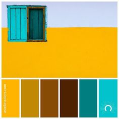 Color inspiration [ yellow wall ] Gareth Harper @gazzardinho - thank you for sharing this colourful picture! picture source @unsplash color palette no 190 Colors: Ucla Gold Dark Goldenrod Saddle Brown French Puce Teal Turquoise Surf name source @coolors_co Which color is your favorite in this palette? - Mine is Ucla Gold and Turquoise Surf for hex codes hop on over to my website astellescolors.com