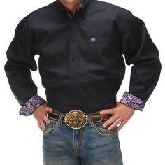 Cinch Mens Solid Navy Long Sleeve Shirt Item # MTW1103620