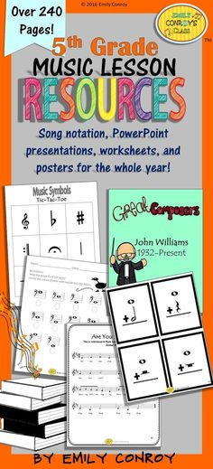Music Resources for 5th Grade-Over 240 pages of worksheets, assessments, PowerPoints, songs, and manipulatives for the WHOLE year!