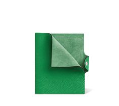 """Ulysse Hermes leather notebook cover in bamboo green 5.3"""" x 6.3""""Leather tab with silver and palladium snap closure, Togo calfskin."""