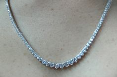 12.60ct Diamond Opera Necklace 18kt White Gold Anniversary Bridal Birthday JewelryGift JEWELFORME BLUE