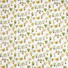 Prestigious Textiles Pot Plants Coral Fabric - - Pick n mix Collection Lined Curtains, Custom Curtains, Curtains With Blinds, Roman Blinds, Coral Fabric, Green Fabric, Curtain Material, Curtain Fabric, Curtain Drops