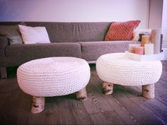 cute with color Green Furniture, Diy Furniture, Crochet Furniture, Cotton Cord, Ideias Diy, Diy Recycle, Crochet Home, Handmade Home, Home Living Room