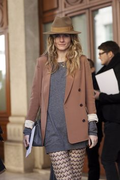 hat and blazer