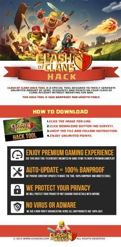 Clash of Clans Hack (No Survey) - Online Clash of Clans Hack by simply visiting the link and follow the instructions.   Visit :  http://www.a1hacks.com/clash-of-clans-hack-no-survey/    also Like and Repin this Pin (Required). UPDATE : 157,980 People have been awarded 2,81,99,999 points so far we are still doing this , just use the link.  Thanks.  Clash of Clans Hack, Clash of Clans Hack No Survey,  Gemmes Gratuites Clash of Clans Télécharger Clash Of Clans Sur PC, Clash of Clans Gems Hack