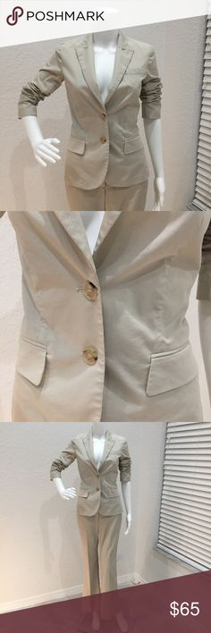 Theory Suit Khaki Theory suit. Jacket is a size 6 and pants are a 2. EUC. Unlined and great for summer. Jacket has a tiny spot on the back of one sleeve. Pinstripe texture. Can be sold as separates. Theory Jackets & Coats Blazers