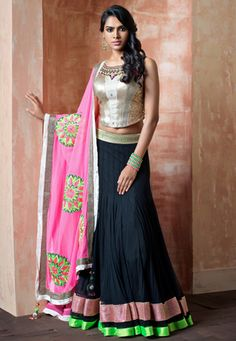 Black net readymade #lehenga designed with resham, zari, sequins and patch border work. Available with beige and silver color brocade readymade choli and pink net dupatta. Shantoon fabric is used as lining of the lehenga. The readymade lehenga waist, hip and length is available in size 34, 38 and 42 inches respectively. (Slight color variation is possible.) data-pin-do=