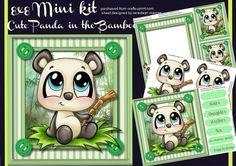 8x8 Mini Kit Cute Panda in the Bamboo  on Craftsuprint - Add To Basket!